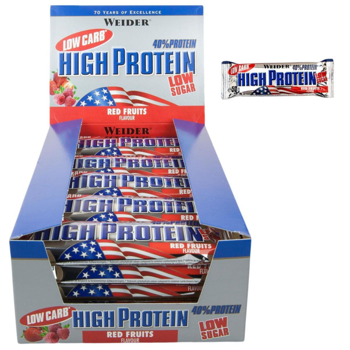 Weider 40% Protein Low Carb Bar 24 x 50g