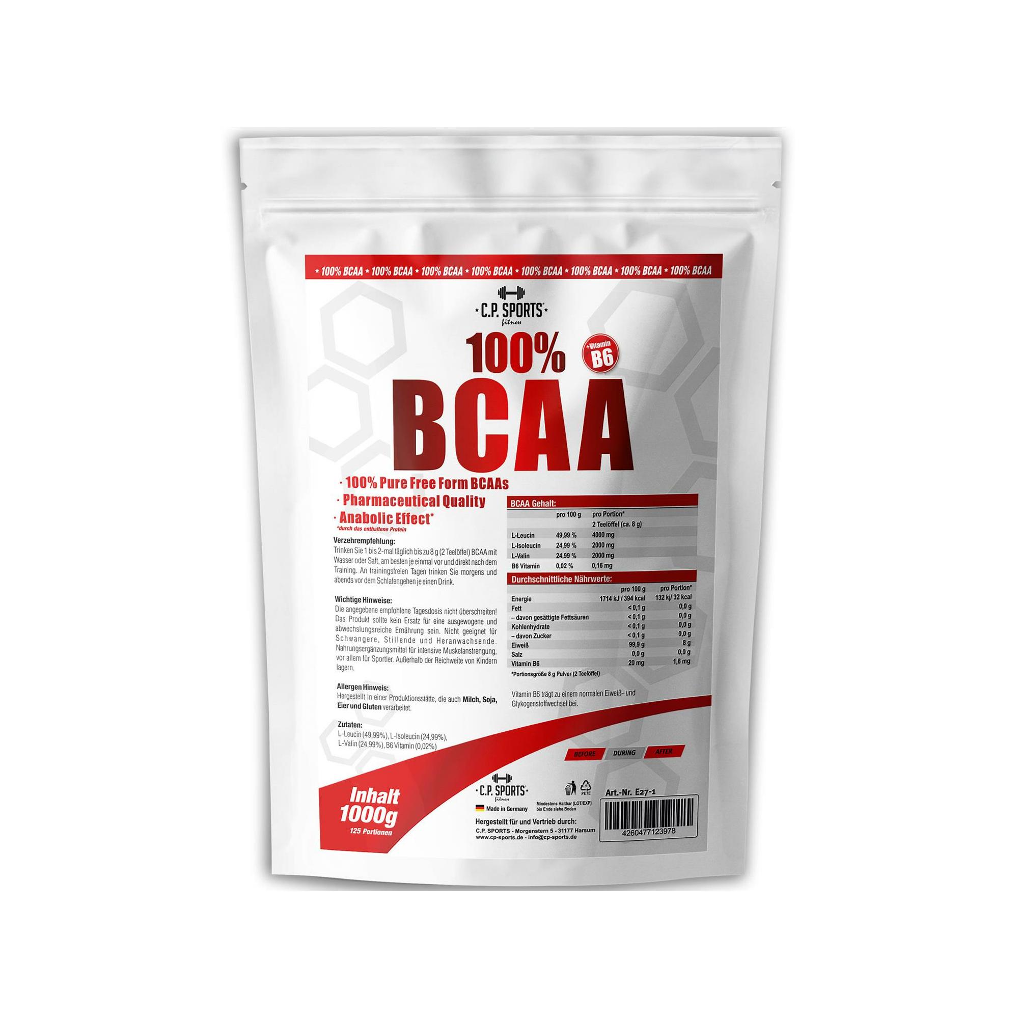 100 Bcaa Mit Vitamin B6 1000g Cp Sports Der Fitness Und Kra