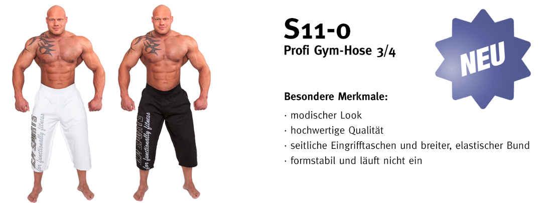 Profi Gym-Hose 3/4 - Farbe: schwarz